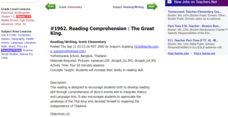 Reading Comprehension : The Great King. Lesson Plan
