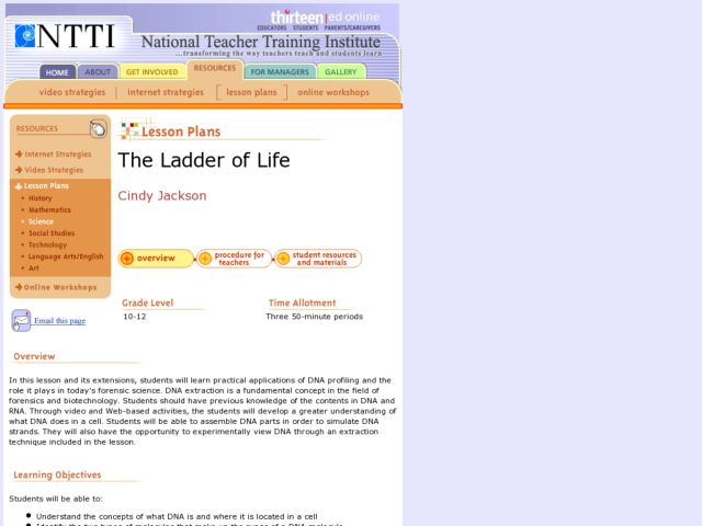 The Ladder of Life Lesson Plan