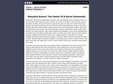 Maryetta School: The Center of a Rural Community Lesson Plan