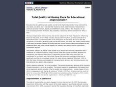 Total Quality: A Missing Piece for Educational Improvement? Lesson Plan