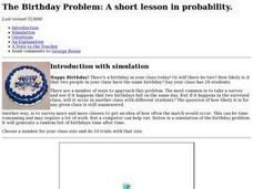 The Birthday Problem: A Short Lesson In Probability Lesson Plan
