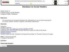 Database in Social Studies Lesson Plan