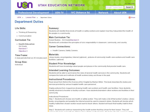 Department Duties Lesson Plan