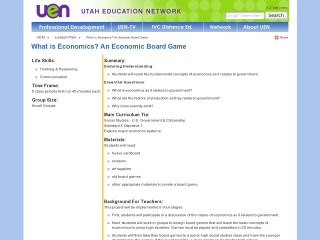 What is Economics? An Economic Board Game Lesson Plan
