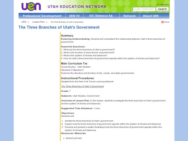 The Three Branches of Utah's Government Lesson Plan