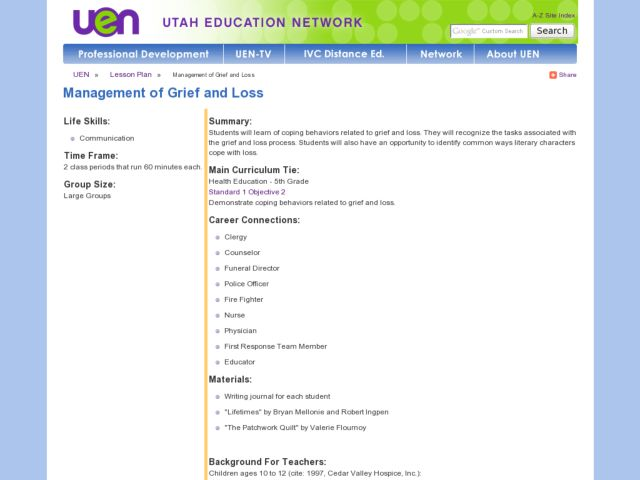 Management of Grief and Loss Lesson Plan
