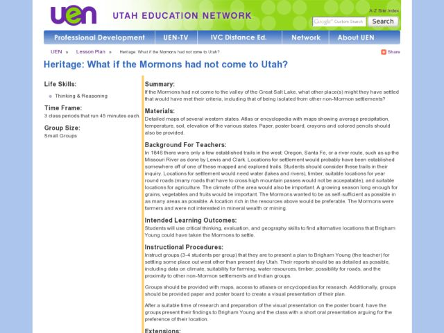 What if the Mormons had not come to Utah? Lesson Plan
