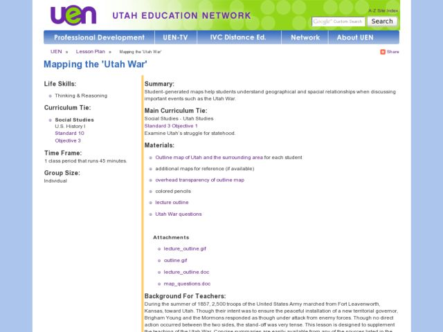 "Mapping the ""Utah War"" Lesson Plan"