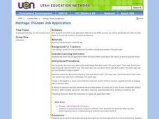 Heritage: Pioneer Job Application Lesson Plan
