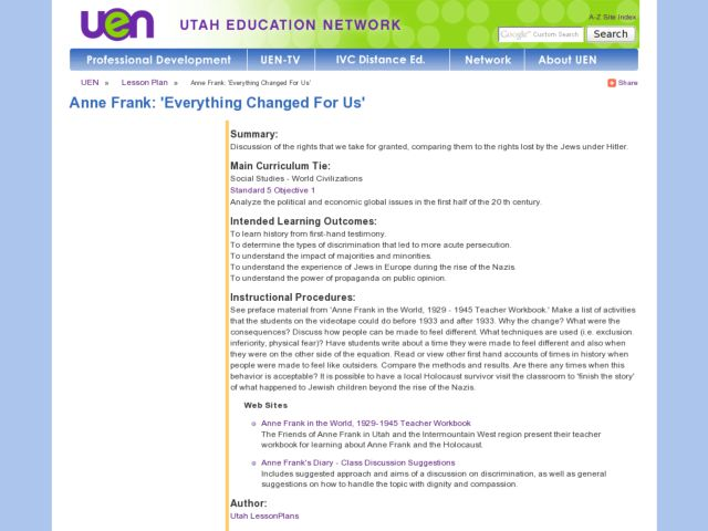 Anne Frank: 'Everything Changed For Us' Lesson Plan