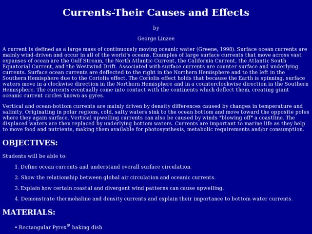 Currents - Their Causes and Effects Lesson Plan