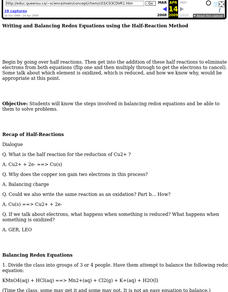 Redox Equations and the Half-Reaction Method Lesson Plan