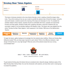 Smokey Bear Takes Algebra Lesson Plan