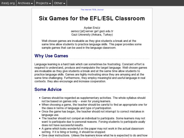 Six Games for the FFL/ESL Classroom Lesson Plan