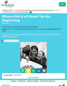 The Role of Philanthropy in an Ever Changing World: Where Did It All Start? Lesson Plan
