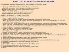 Creating Name Badges in Word Perfect Lesson Plan