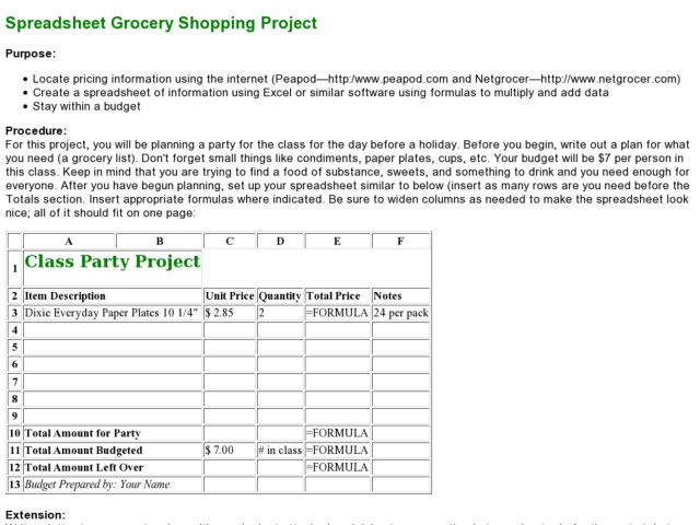 Spreadsheet Project:  Planning a Party Lesson Plan