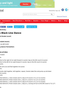 Men in Black Line Dance Lesson Plan