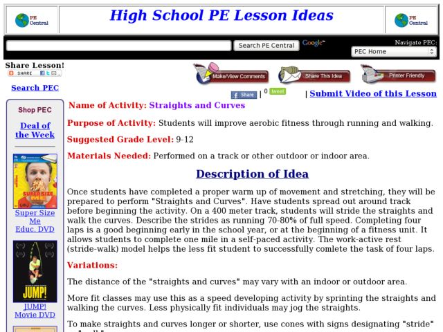 Straights and Curves Lesson Plan