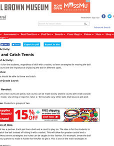 Throw and Catch Tennis Lesson Plan