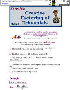 Creative Factoring of Trinomials Lesson Plan