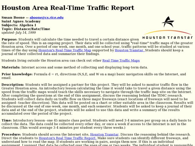 Houston Area Real-Time Traffic Report Lesson Plan