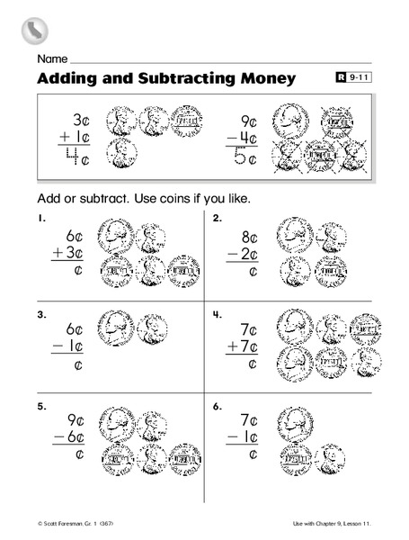 adding and subtracting money worksheet for 1st grade lesson planet. Black Bedroom Furniture Sets. Home Design Ideas