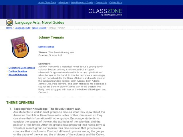 Language Arts: Novel Guides Lesson Plan