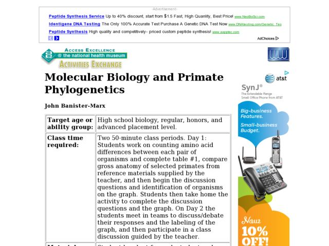 Molecular Biology and Primate Phylogenics Lesson Plan