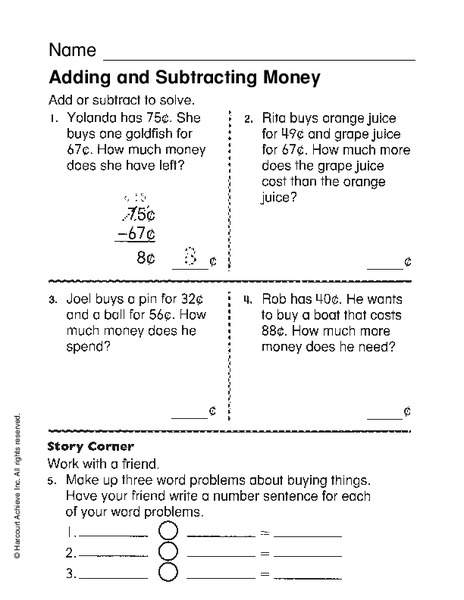 Adding And Subtracting Money Worksheet For 2nd 4th Grade