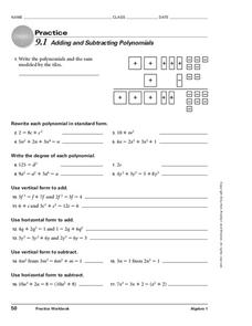 Adding and Subtracting Polynomials Worksheet