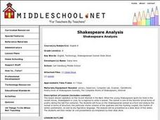 Shakespeare Analysis Lesson Plan