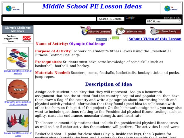 Olympic Challenge Lesson Plan