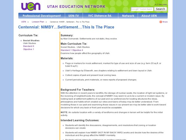 NIMBY...Settlement...This Is The Place Lesson Plan
