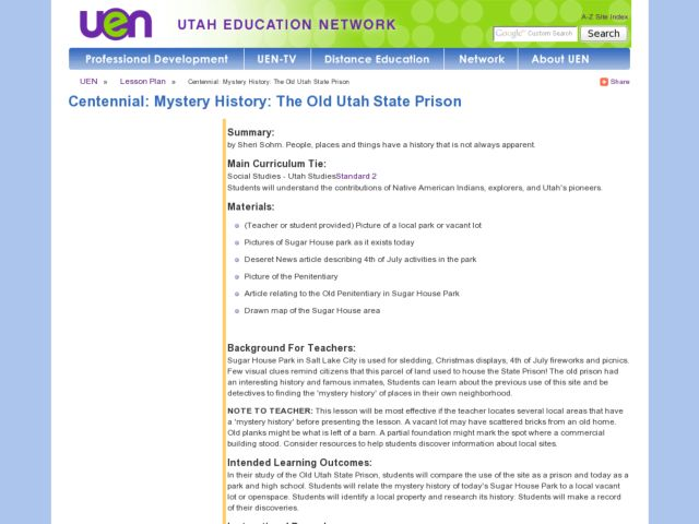 Mystery History: The Old Utah State Prison Lesson Plan