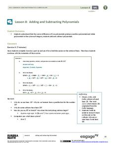 Adding and Subtracting Polynomials Lesson Plan for 9th - 10th Grade ...