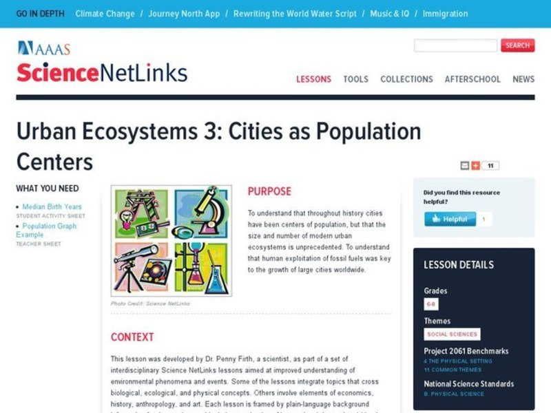 Urban Ecosystems 3: Cities as Population Centers Lesson Plan