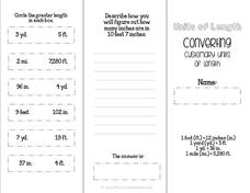 Converting Customary Units of Length Brochure Printables & Template