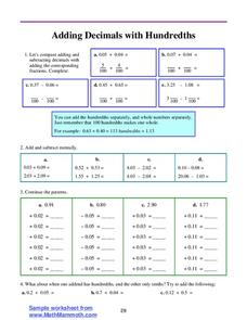 Adding Decimals with Hundredths Lesson Plan
