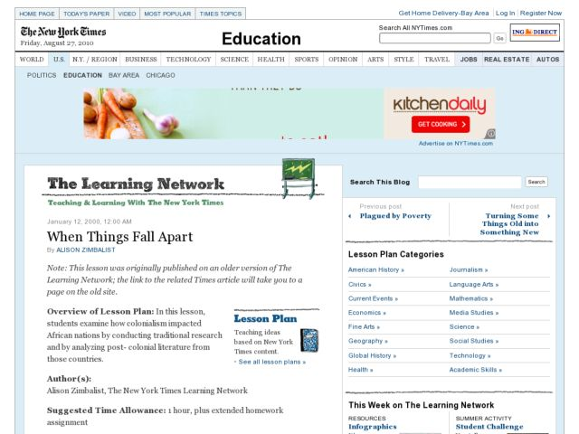 When Things Fall Apart Lesson Plan