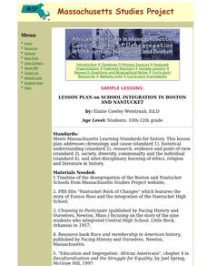 Lesson Plan on School Integration in Boston And Nantucket Lesson Plan