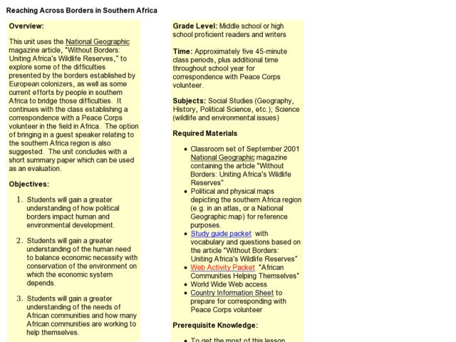 Reaching Across Borders In Southern Africa Lesson Plan