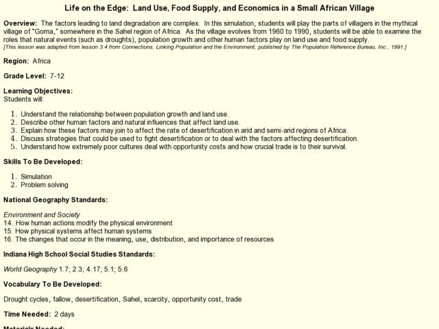 Life on the Edge:  Land Use, Food Supply, and Economics in a Small African Village Lesson Plan