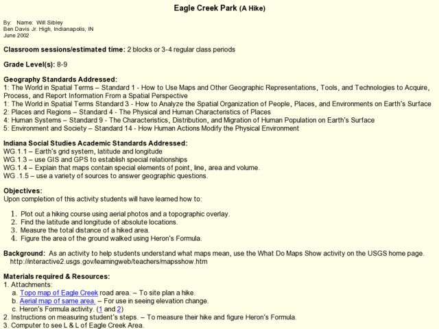 Eagle Creek Park (A Hike) Lesson Plan