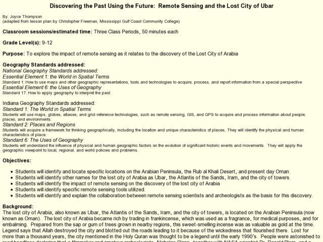 Discovering the Past Using the Future:  Remote Sensing and the Lost City of Ubar Lesson Plan
