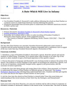 A Date Which Will Live In Infamy Lesson Plan