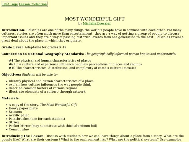 Most Wonderful Gift Lesson Plan