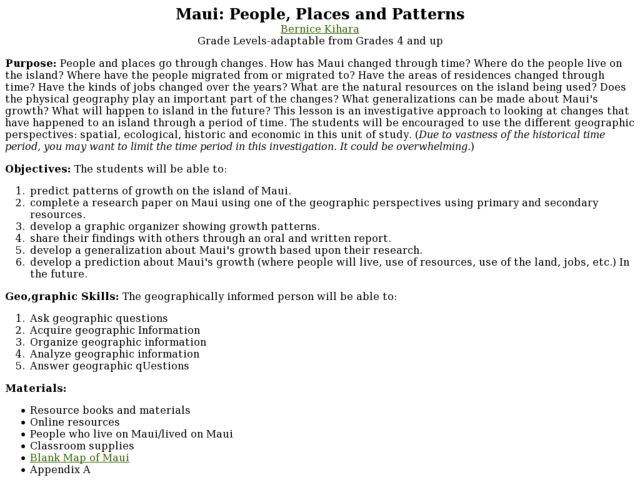 Maui: People, Places and Patterns Lesson Plan