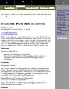 Power Crisis in California Lesson Plan