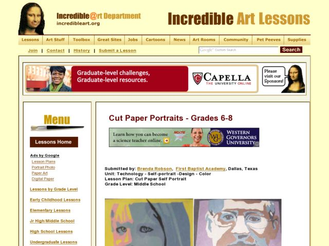 Technology self portrait design color lesson plan for - Design and technology lesson plans ...